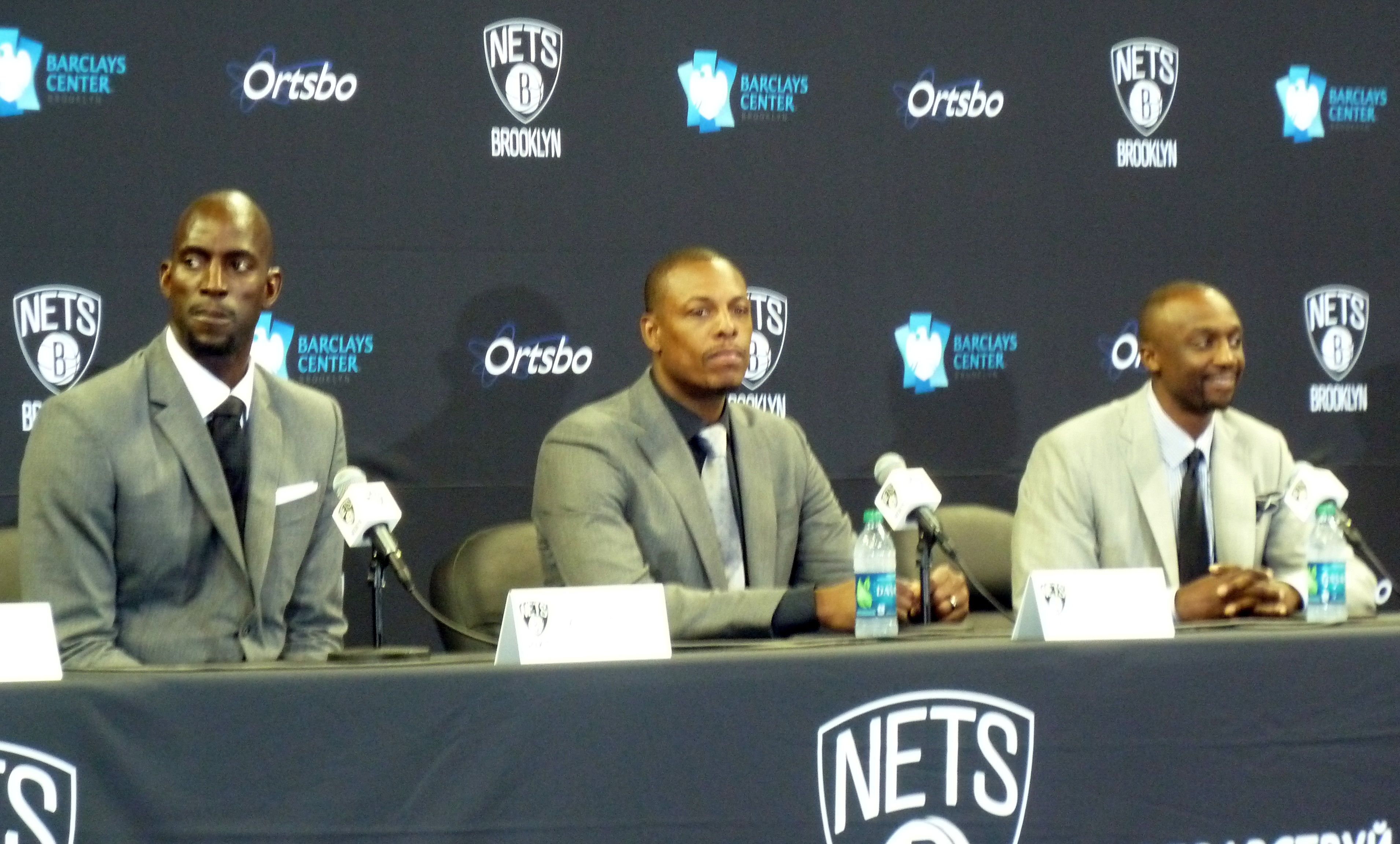 Kevin Garnett, Paul Pierce, and Jason Terry at the Barclay's Center excited about the fresh beginnings in Brooklyn.