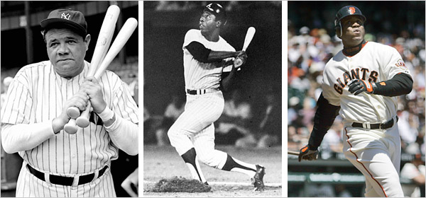 Henry Aaron broke Babe Ruth's homerun record in 1974 under much racism and in 2007 Barry Bonds overtook Aaron as the all-time career homerun king under a heavy cloud of steroid allegations.