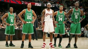 Lebron James could not get Boston out of his head when he was in Cleveland.  Now the guy to his right is with him in Miami and the two guys to his left are in Brooklyn looking to take him down.