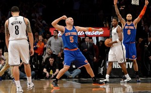 The matchups between the two teams at the Barclay's Center was as intense as it gets a season ago.  Jason Kidd (5) now is the Brooklyn head coach and has never looked so stressed.