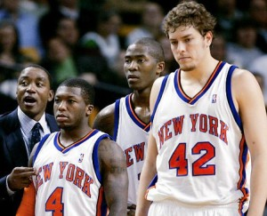 During David Lee's five years with the Knicks he was never on a team that came close to finishing over .500 even though they were very talented constructed with hall of fame champion point guard Isiah Thomas' vision.