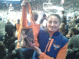 This longtime season ticket holder is as passionate as they come and her favorite Knick in recent times is Latrell Spreewell.  That is his bag she is holding up.  She also wears a #8 Knicks pendant in honor of Spree.