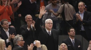 The Phil Jackson era has begun and he received a standing ovation from the Garden crowd in his first night in the building.