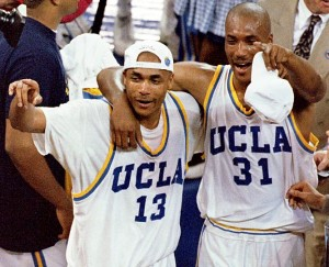 Ed O'Bannon (right) and Charles O'Bannon (left) starred together in the starting lineup for the 1995 NCAA champion UCLA Bruins.