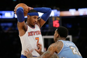 Carmelo Being Guarded By Wilson Chandler