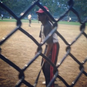 Malcolm Decastro has been a devoted coach in the Harlem Little League since the beginning in 1989.  This is him here taking an at-bat at the parents, coaches, volunteers softball game.