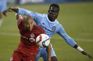 NYC FC's Kwadwo Poku came into the game midway through trying to help slow the Toronto attack led by Sebastian Giovinco the 2nd leading scorer in the MLS. We spoke with Poku after the match.