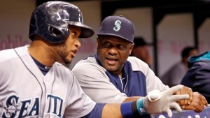Lloyd McClendon (right) here with Robinson Cano is currently the only African-American manager in Major League Baseball today.