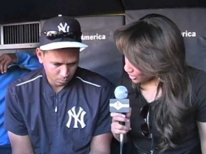 Mercedes interviewing Alex Rodriguez